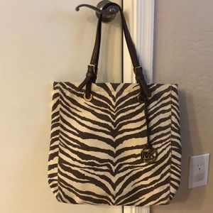 Michael Kors Zebra Print brown canvas/leather
